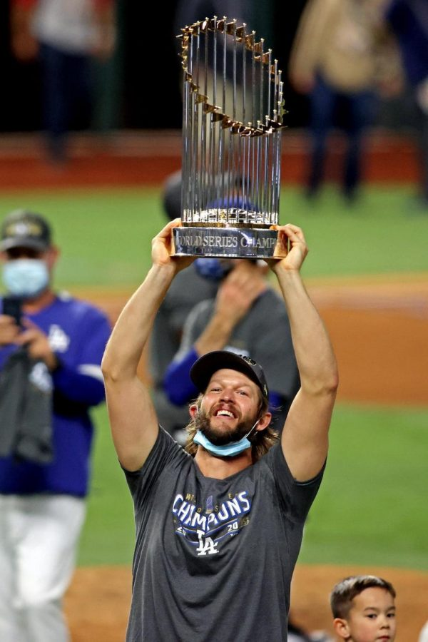 Clayton Kershaw celebrates his first World Series Championship with great excitement.