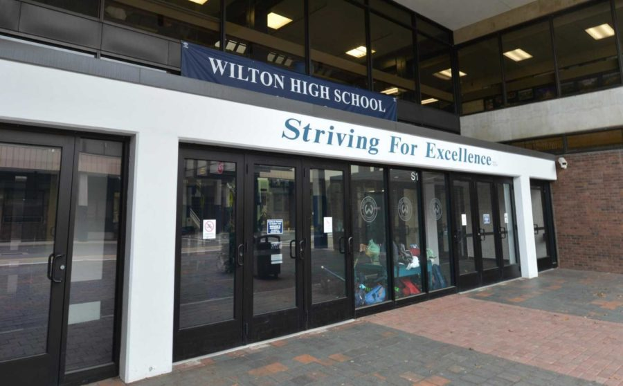 The main entrance at Wilton High School through which students enter daily.
