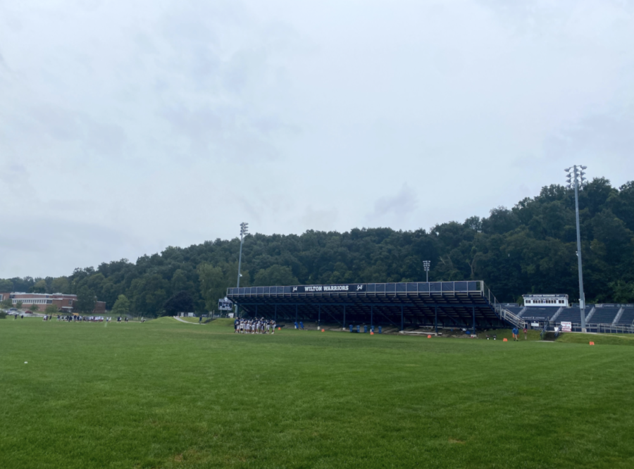 The WHS football team now schedules practices on the field in front of Fujitani due to turf closure.